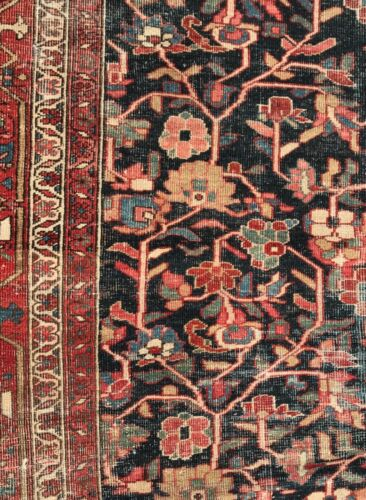 Antique hand knotted wool P...n Heriz Serapi, pre 1900, distressed 9x12 veg dye