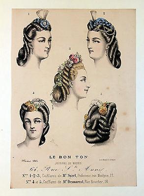 Gazette du Bon Ton ORIGINAL 1864 Frisur Frisör Zöpfe Hairstyle Hairdesser Braids
