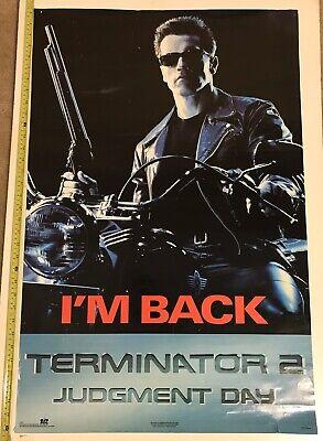 Vintage 1991 Terminator 2 Judgement Day Poster OSP #1927 35x23 I'm Back