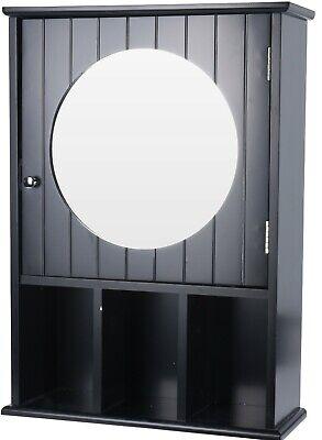 Negro Baño Pared Armario Con Un Espejo & Compartimientos de Almacenaje