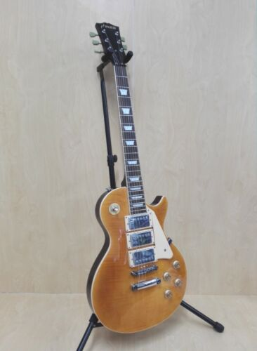 Haze 338ATGD All Mahogany LP Electric Guitar, Trans. Golden HHH Pickups+Gig Bag