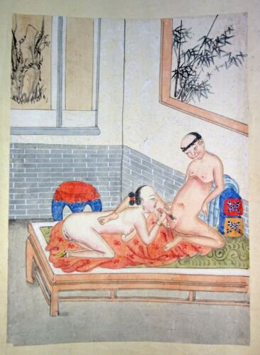 19C Chinese Erotic Pillow Color Paintings for Newly Married Couple (SoM)#3