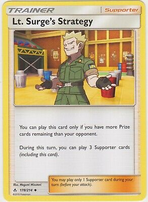 Pokemon TCG SM Unbroken Bonds 178/214 Lt. Surge's Strategy Trainer Card