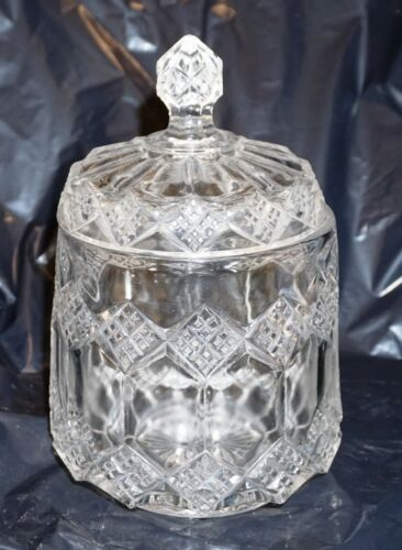 Vintage Lead Crystal Cut Glass Cookie Biscuit Jar Canister Exceptional