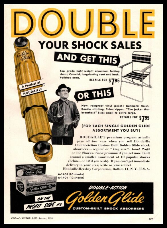 1955 Houdaille Golden Glide Shock Absorbers Jacket & Chair Deal Vintage Print Ad