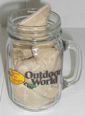 Collectible Bass Pro Shops Outdoor World Mason Jar Beer Glass Mug