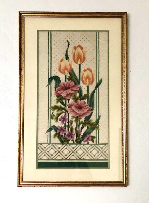 Gorgeous Vintage Floral Orange Tulips & Pink Poppies Needlepoint CUSTOM FRAMED