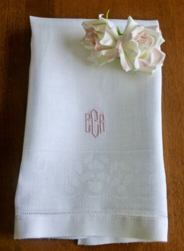2 Sweet Vintage Damask Linen Embroidered Monogram Hand Towels