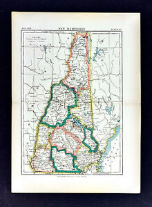 c1889 Encyclopedia Britannica Map - New Hampshire - Concord Dover Mt. Washington