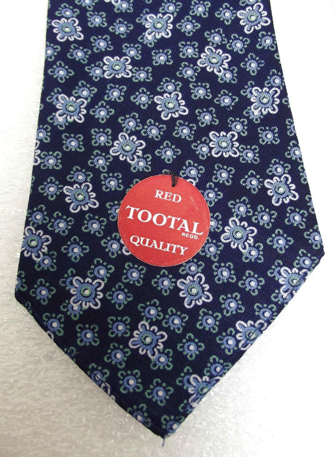 Tootal tie UNUSED vintage 1950s floral BLUE flowery tebilized cotton RED LABEL