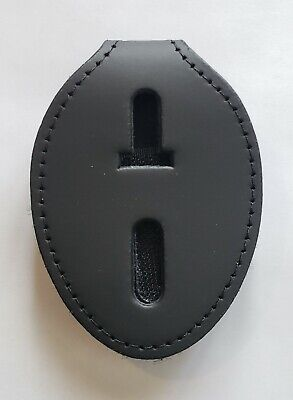 Perfect Fit Universal Oval Clip On Badge Holder W Chain - Police Security