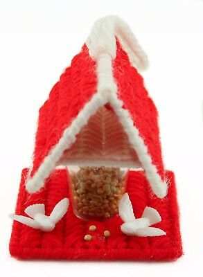 Red White Yarn Bird Seed Feeder Christmas Ornament Holiday Decoration