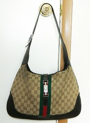 Gucci GG Monogram Brown Leather Canvas Hobo Shoulder Bag Purse Women's