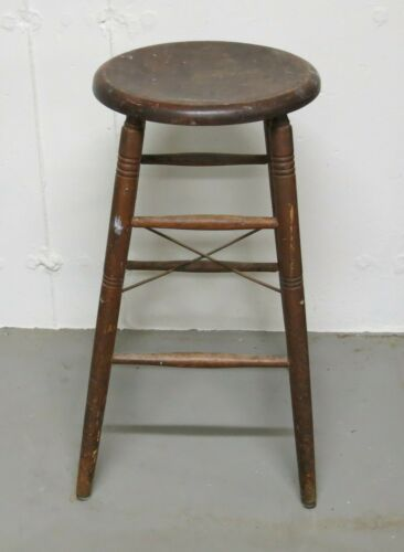 Antique Industrial Wooden Stool S. Bent Brothers