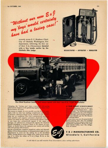 1949 E & J Mfg. Co. Ad: Chehalis, Washington Fire Dept. Chief, Truck Photograph