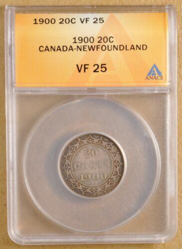 1900 Canada Newfoundland Silver 20 Cents ANACS VF 25