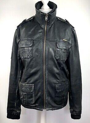 Superdry Distressed Leather Jacket Black Size L Fur Lining Flying Bomber