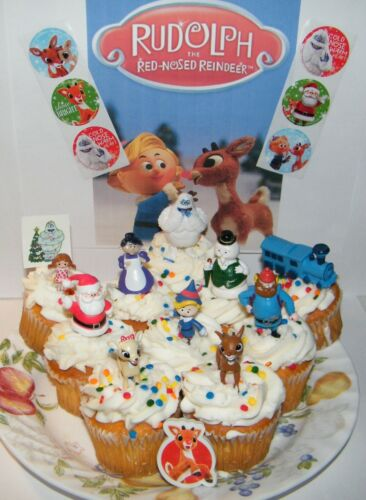 Rudolph the Red Nosed Reindeer Cake Toppers Set Of 10 Figures with Stickers More