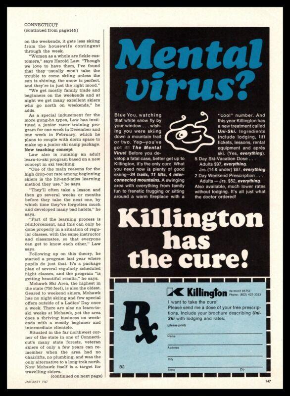 1967 Killington Vermont Ski Resort Has The Cure For Mental Virus Print Ad