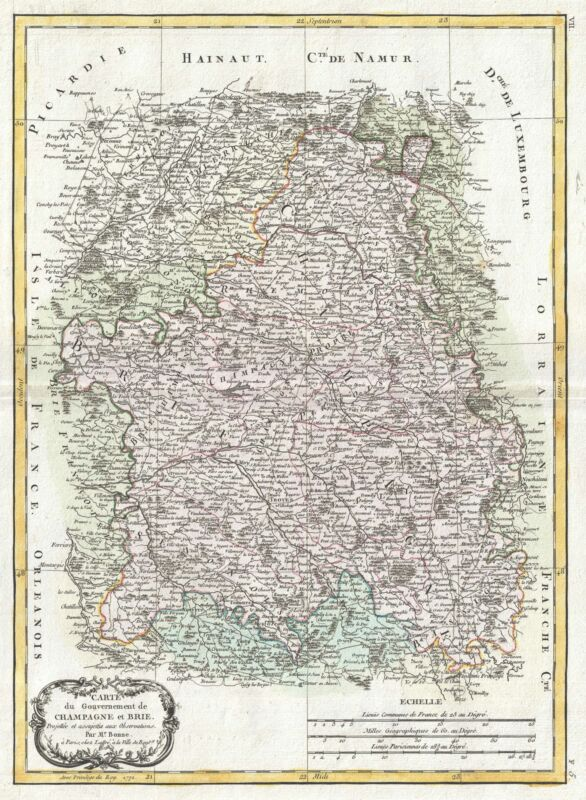 1771 Bonne Map of Brie and Champagne, France