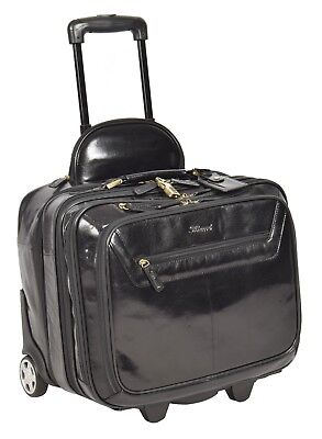 Genuine Black Leather Pilot Case Trolley Bag Laptop Business Travel Weekend Bag