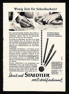 3w1644/ Alte Reklame von 1960 - schreibe mit STAEDTLER - weil´s drauf ankommt.