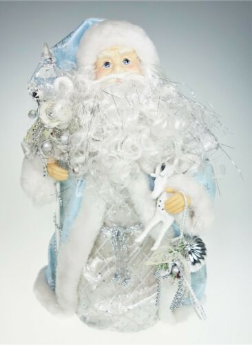 "16.5"" Blue Santa Claus Father Large Christmas Tree Topper Silver Centerpiece"