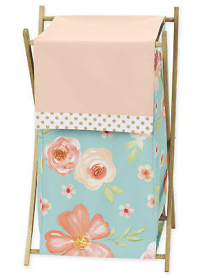 Sweet Jojo Watercolor Floral Turquoise Peach Baby Kid Clothes Laundry Hamper ()