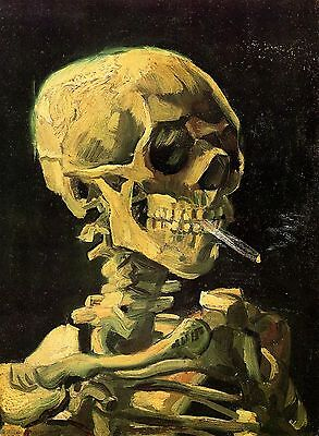"Skull With Burning Cigarette by Vincent Van Gogh, 8""x11"", Giclee Canvas Print"