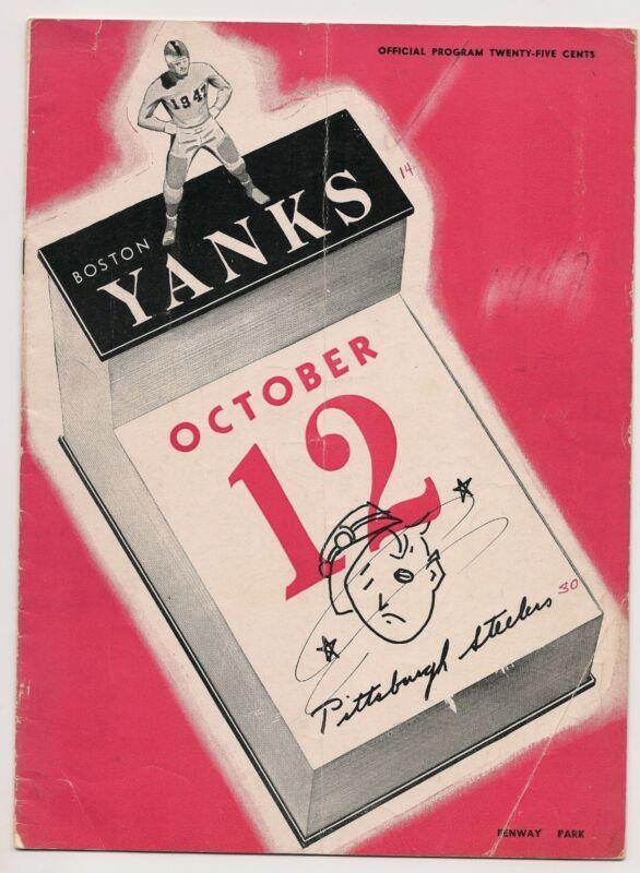 1947 Boston Yanks-Steelers Program Steelers Cruise Past Yanks NICE!!