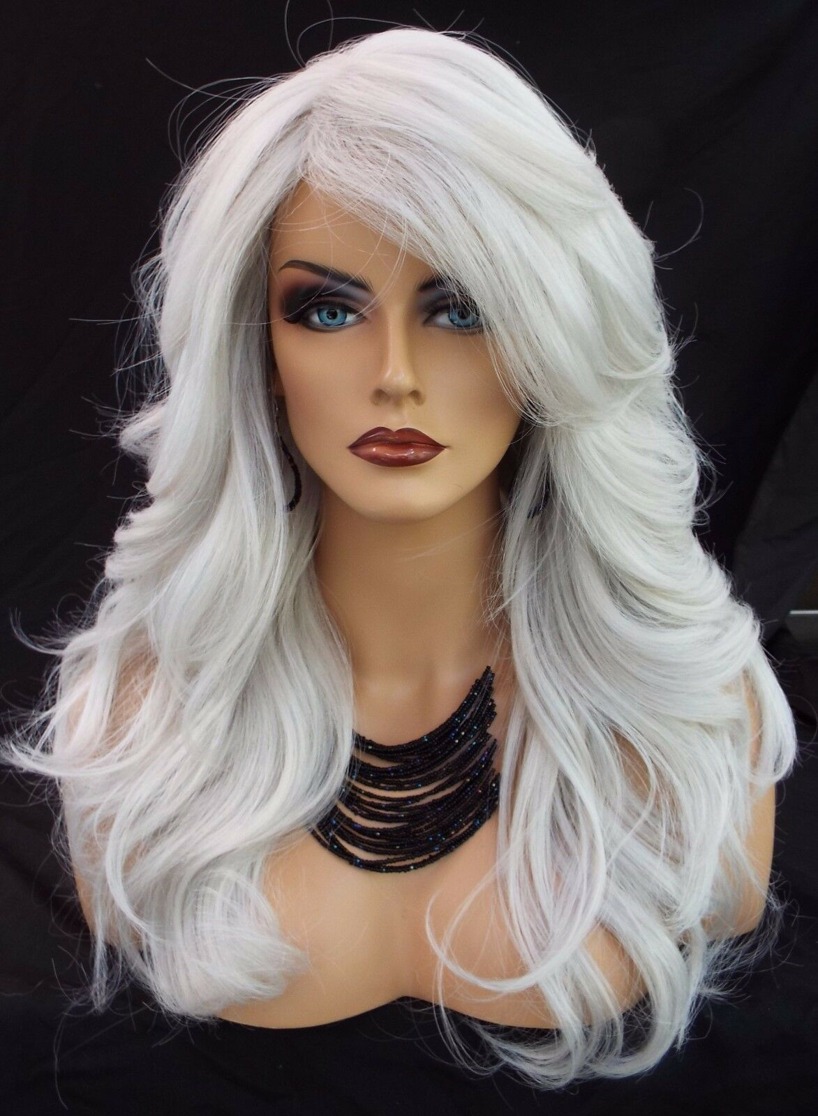 Long Wavy Heat Friendly Wig Color 60 White Gorgeous Sexy