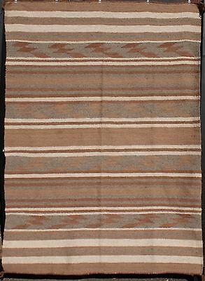 "1910's C.N. Cotton Large Navajo Crystal Natural Wool Banded Blanket 90"" x 65"""