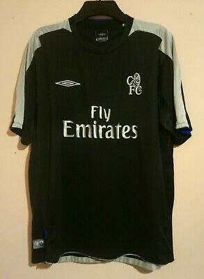 CHELSEA FOOTBALL CLUB 2004 DARK GREY AWAY SHIRT UMBRO FLY EMIRATES SIZE XL 48