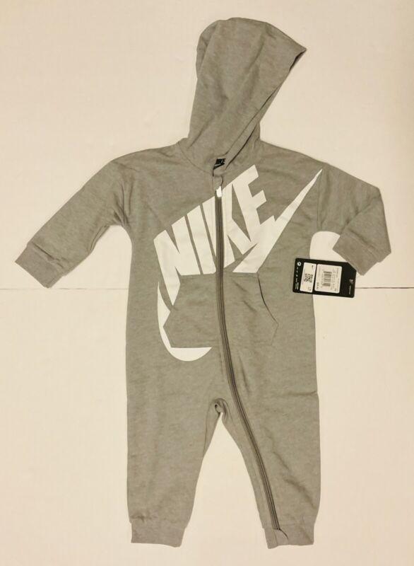 NWT NIKE 12 Month BABY Gray  PAJAMAS with Hood ONE PIECE, Retail $35