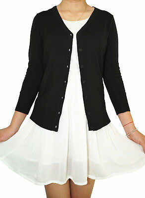 - Women Fitted Cardigan V-Neck 3/4 Sleeve Vintage Soft Knit Basic & Plus Size