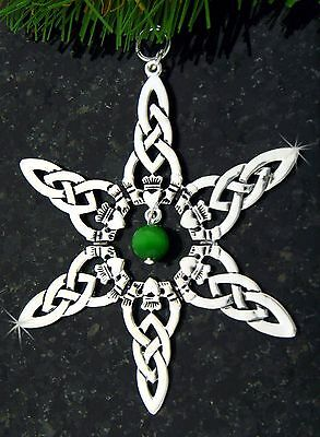 Irish Claddagh/Green Bead SnowWonders Ornament,Celtic Ornament, gift tag