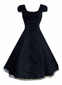 Alternative-50s-Vintage-Black-Leopard-Flocked-Party-Prom-Tea-Dress-New-8-18