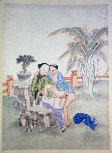 19C Chinese Erotic Pillow Color Paintings for Newly Married Couple (SoM) #11