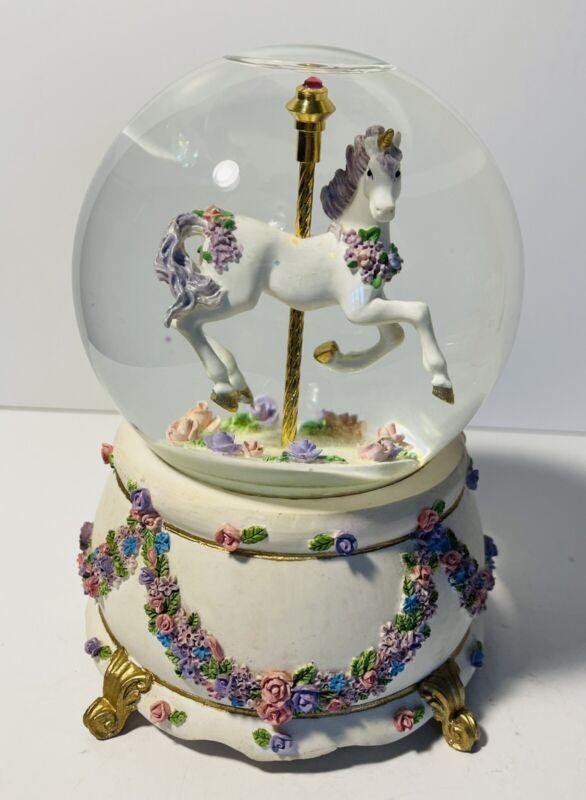 "San Francisco Music Box Co. 1996 Unicorn Carousel Snow Globe ""Once Upon a Dream"""