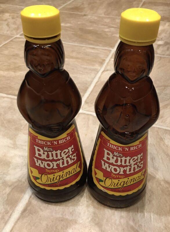 "Vintage 8.5"" Mrs. Butterworth Glass Pancake Syrup bottles, Lot of 2"
