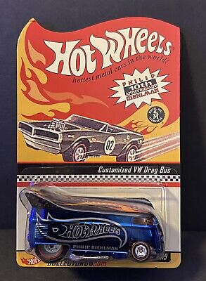 Hot Wheels RLC Red Line Drag Bus VW 10th Anniversary Philip Riehlman Blue NIP
