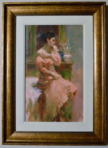 Pino Daeni Silk Taffeta Canvas Ap Signed #36/95 W/coa Hnd Embellished Framed