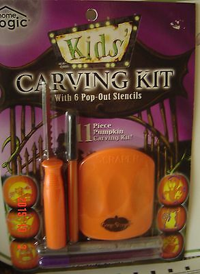 11 PC Halloween KIDS CARVING KIT Age 8+ Pumpkin CARVE 6 STENCILS 3 Tools