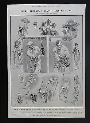 Old print 1909 Cricket Eton v Harrow match at Lords sketches by Frank Reynolds