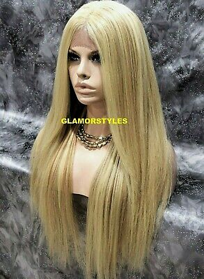 Human Hair Blend Long Straight Medium Blonde Mix Full Lace Front Wig #FS613.27  ()