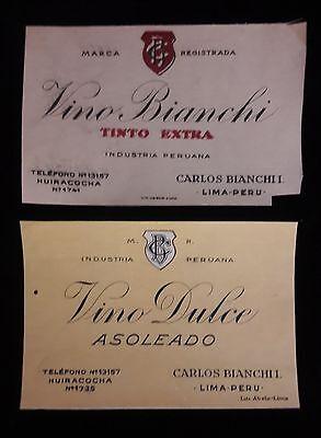 PERU 2x vintage Carlos Bianchi wine lable proofs 1940s Litho Abele, - Wine Lables