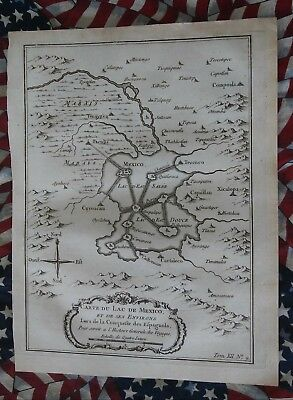 CIRCA 1760 MAP OF LAKE OF MEXICO. HAND LAID RAG PAPER COMES WITH LIFETIME COA.
