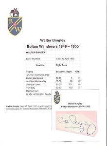 WALTER-BINGLEY-BOLTON-WANDERERS-1949-1955-ORIGINAL-HAND-SIGNED-CUTTING-CARD