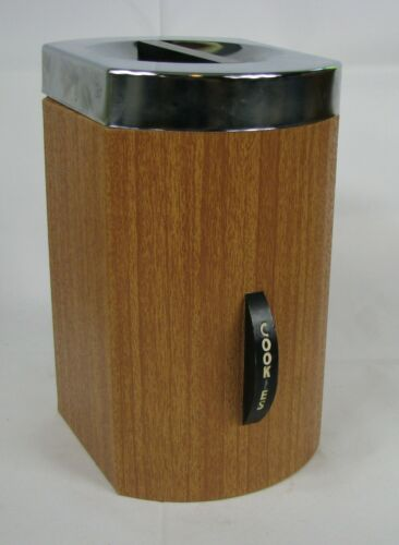 Vintage KROMEX Cookie Canister Faux Wood Grain Chrome Lid Hard to Find