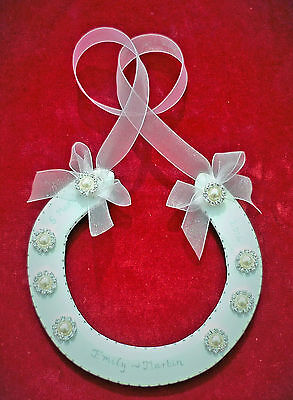 PERSONALISED REAL WEDDING HORSESHOE WHITE RACEHORSE SHOE + JEWEL/PEARL CLUSTERS